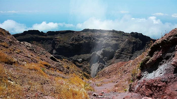 A view into the crater of Mount Vesuvius